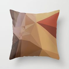 Antique Brass Brown Abstract Low Polygon Background Throw Pillow. Low polygon style illustration of antique brass brown abstract geometric background. #LowPolygon #AntiqueBrassBrownAbstract