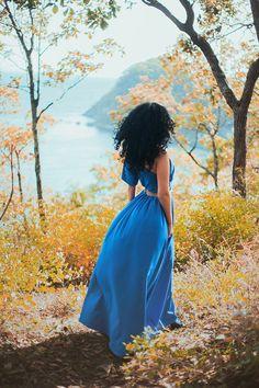 blue dress, forest, autumn
