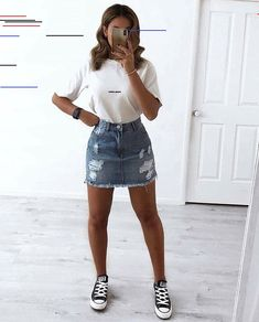 Look con Tenis de moda para mujer 2019 Tenis Vintage Summer Outfits, Simple Fall Outfits, Cute Spring Outfits, Summer Outfits Women, Teenage Outfits, Girly Outfits, Mode Outfits, Outfits For Teens, Trendy Outfits