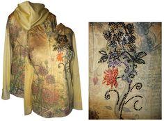 floral zip Hoodie | ... Floral with Rhinestone Details Plus Size Zip Up Hoodie 30/32w-5x