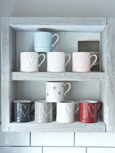 All these gorgeous mugs except the star one, are decorated with a linear heart in a slightly raised effect. The perfect size for a nespresso coffee machine and available in 9 colourways!
