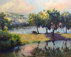 Greene Lake by Trisha Adams Oil ~ 48 x 60 (OMG!  I LOVE THIS.  THE PINK HIGHLIGHTS ARE BREATHTAKING.)