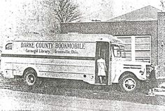 The very first Greenville, Ohio, Public Library bookmobile in 1947 at a local school. It was built on a 1939 Mack frame.