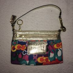 Coach bag Small multi colored Coach purse. Has gold detailing. In perfect condition - no marks inside or outside. 100% Authentic!! Coach Bags Mini Bags