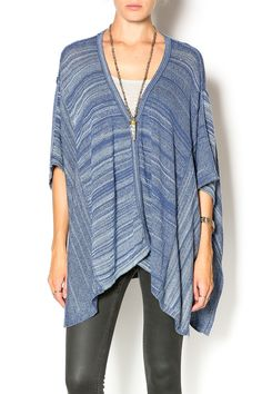 The bestselling Lexi poncho, longer than the Chumash Poncho, can be worn 5 different ways: buttons on the side, in the front, in the back, as a wrap or as a scarf. It is a perfect light weight and a wardrobe staple.   Lexi Stripe Poncho by 27 Miles Malibu. Clothing - Sweaters - Cardigans Pennsylvania