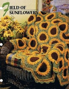 Sunflower Block Pattern Afghan | Field of Sunflowers Annie's Attic Crochet Afghan Pattern Instructions