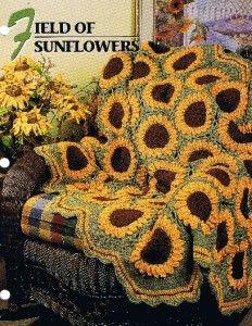 Sunflower Block Pattern Afghan   Field of Sunflowers Annie's Attic Crochet Afghan Pattern Instructions