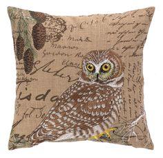 Owl Burlap Wool Throw Pillow