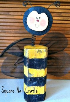 Timber bumblebee created and painted by Square Nail Crafts using a Debbie Bryan design.