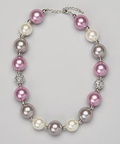 Take a look at this Lavender & Gray Chunky Bead Necklace by Olivia Rae on #zulily today!