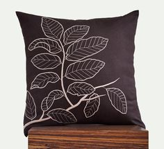 """Leaves Branch Throw Pillow Cover - 18"""" x 18"""" Linen Decorative Pillow Cover - Dark Brown"""