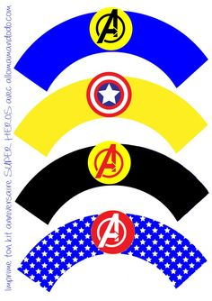 Superheroes Birthday Party: Free Printable Wrappers and Toppers for Cupcakes. – … Superheroes Birthday Party: Free Printable Wrappers and Toppers for Cupcakes. – Oh My Fiesta! for Geeks Batman Party, Superhero Party, Anniversaire Captain America, Anniversaire Wonder Woman, Marvel Cupcakes, Superhero Baby Shower, Wonder Woman Party, Cupcake Wraps, Avengers Birthday