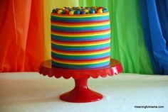 This is a really fun rainbow birthday cake with different color layers and fondant rainbow stripes. It also has colorful balls on the top. Fancy Birthday Cakes, Rainbow Birthday Party, Rainbow Wedding, Birthday Parties, Birthday Ideas, 2nd Birthday, Circus Birthday, Fancy Cakes, Princess Birthday