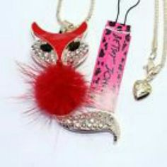 Betsey Johnson Red Fox Fashion Jewelry Betsey Johnson Rhinestone Red Fox with Sweater Necklace Betsey Johnson Jewelry