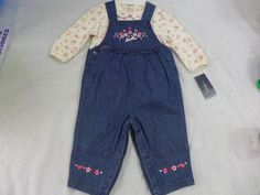 Infant Newborn Overalls Set Pants & Shirt 6 to 9 Months Jeans & Floral Shirt  #Sonoma #Everyday