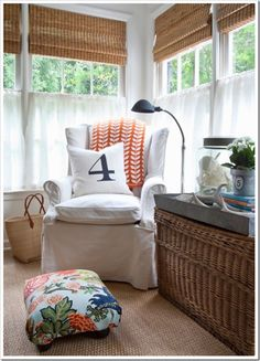 love the window treatments on this porch!