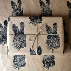 Rabbit Hare Hand Printed Wrapping Paper - Three Sheets on Etsy, Present Wrapping, Wrapping Ideas, Paper Wrapping, Paper Packaging, Gift Packaging, Brown Paper Packages, Diy Gifts, Handmade Gifts, Print Wrap