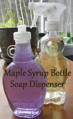 syrup bottle to soap dispenser Recycling Containers, Glass Containers, Glass Bottles, Perfume Bottles, Cleaning Fun, Diy Cleaning Products, Jar Crafts, Bottle Crafts, Upcycled Crafts