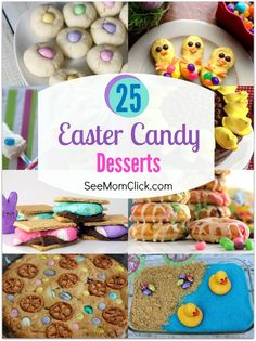 25 Easter Candy Desserts - See Mom Click Save some of that Easter candy in the baskets to make one or two of these delish Easter candy dessert recipes. I've got 25 tasty Easter ideas for you here! Easter Candy, Easter Treats, Easter Recipes, Dessert Recipes, Easter Desserts, Spring Recipes, Easter Dishes, Easter Food, Holiday Snacks