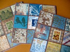 Inchie cards by Zayasa uses two of the birds from the Birds & Branch stamp in the middle card- via Flickr