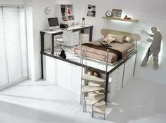 Chambre d'ado en blanc avec un lit a tiroir