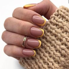 Sweater Nails Design Rings Brown French Square Nails + Khaki Sweater Sweater weather takes on new meaning with this cozy-chic nail trend. French Nail Art, French Tip Nails, French Manicures, Color French Manicure, Cute Nail Designs, Acrylic Nail Designs, French Tip Nail Designs, Acrylic Art, Yellow Nail Art