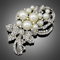 High Quality Simulated Pearl Brooches Gold Plated Jewelry Fashion Brand Wedding Bouquet Elegant Rhinestone Brooch Pins For Women