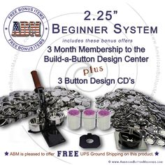 "america button machine   2.25"" Beginner Button Making System  $349.95 - system with 250 complete button sets"