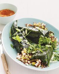 Quinoa-Stuffed Poblanos with Grilled Romesco Sauce | Food & Wine