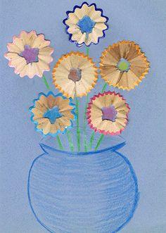 Поделки из карандашных очисток - букет цветов
