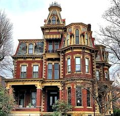 Chancellor-Burwell-Lowe-Brown House in the Julia-Ann Square Historic District in Parkersburg, West Virginia. Colonial William Chancellor a prominent oilman, railroad builder, and real estate tycoon, who completed the home in which contains 16 rooms. Victorian Homes Exterior, Victorian Style Homes, Victorian Buildings, Victorian Architecture, Beautiful Architecture, Victorian Houses, Victorian Decor, Stairs Architecture, Vampire House