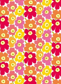 Marimekko Pieni Unikko Yellow / Orange / Pink Cotton Fabric A sorbet of yellow, orange and pink, this Marimekko Unikko fabric is a delicious colorway of the poppies designed by Maija Isola in Printed in Finland on cotton, the fabric is heavyweight an. Marimekko Wallpaper, Marimekko Fabric, Graphic Patterns, Textile Patterns, Print Patterns, Cute Patterns Wallpaper, Pink Fabric, Cotton Fabric, Textiles