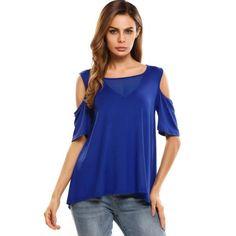Dresslink - Dresslink Blue Cold Shoulder Half Sleeve Mesh Patchwork Loose Tops - AdoreWe.com