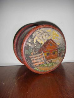 Antique Russian Carved Hand Painted Wooden Wood Round Box Folk Art Scene 2