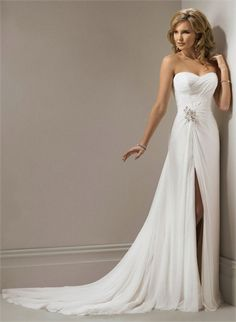 Beautiful White Sweetheart With Beadings High Slit Cathedral Train Chiffon Wedding Dress www.tidedresses.co.uk WD1723 $249.0000