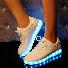 2015 Women Colorful glowing sneakers with lights up led luminous shoes a new simulation sole led shoes for adults neon Sneakers(China (Mainland))