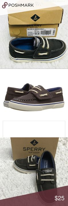 Sperry Top-Sider Toddler Halyard Jr Brown Shoe In excellent condition as they were worn a handful of times. Cobalt blue accent color complete this stylish shoe. Sperry Shoes