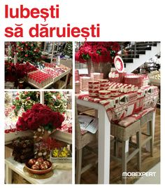 Știi că a venit Crăciunul când ai toatâ casa plină de reni. De servete, perne pentru scaune si căni cu desene în care apar ajutoarele Mosului, mai precis. Ce poate fi mai simpatic de atât? Christmas Tree, Houses, Table Decorations, Holiday Decor, Furniture, Home Decor, Figurine, Teal Christmas Tree, Homes