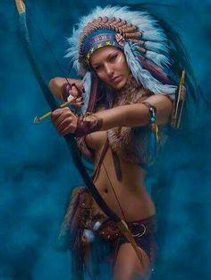 Fantasy in Fotos Warrior Girl, Fantasy Warrior, Warrior Princess, Fantasy Art, Fantasy Wolf, Native Indian, Native Art, Apache Indian, Red Indian