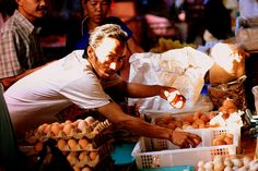 Indonesian Traditional Market: Eggs Seller.Location: Andir Traditional Market, Bandung, Indonesia