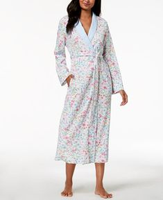 82cb2d5861 Miss Elaine Long Wildflower-Print Wrap Robe Women - Bras