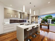 Photo of a kitchen with pendant lighting from the realestate.com.au Home Ideas Kitchen galleries - Kitchen photo 17225893. Browse images of kitchen designs using pendant lighting.