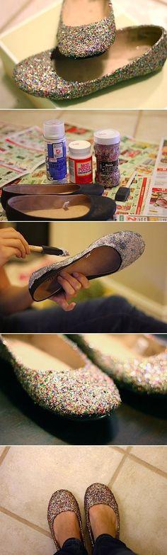 DIY Glitter Flats by