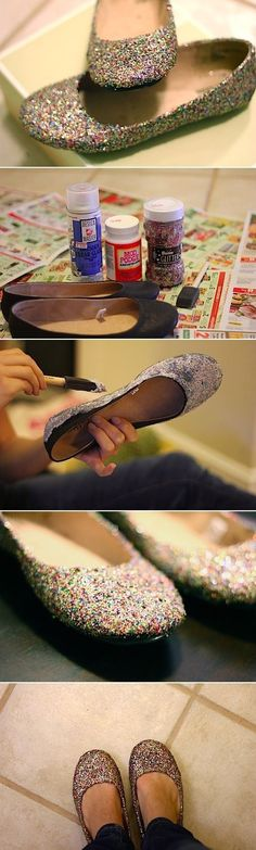 "DIY Glitter Flats by ""We are not Martha"""