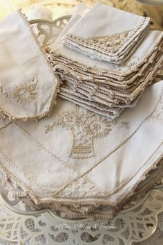 Shades of White Linen Textiles, Linen Cupboard, Linens And Lace, Lady Grey, Lace Doilies, Shades Of White, Cutwork, Vintage Lace, Vintage Embroidery