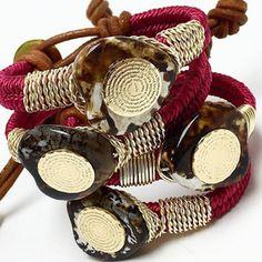 Bracelets By Vila Veloni Leather Macramé With Agate Stone