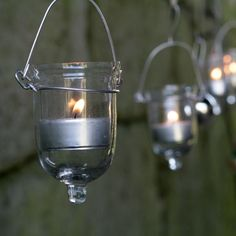 These t-light holders would look fantastic hanging in the garden