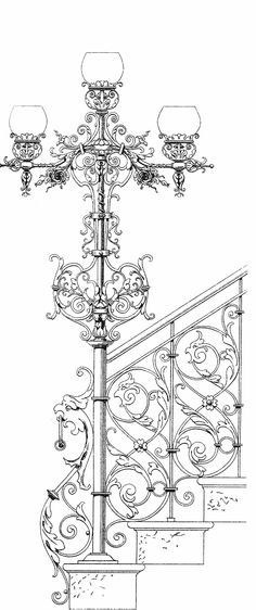 60 new ideas stairs drawing wrought iron Architecture Drawings, Architecture Details, How To Draw Stairs, Art Nouveau, Art Deco, Grill Design, Iron Art, Architectural Elements, Art Object