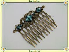 Peigne cheveux vintage mariage perles de verre gris noir bleu bronze : Accessoires coiffure par lydeedeco