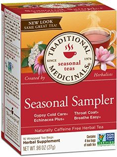 Traditional Medicinals Seasonal Sampler Variety Pack, 16 Tea Bags: Seasonal herb tea sampler includes 4 tea bags each of clinically tested organic throat coat, clinically tested organic Echinacea plus, clinically tested breathe easy and gypsy cold care. Mothers Milk Tea, Elderberry Tea, Tea Benefits, Herbal Medicine, Cold Medicine, Natural Medicine, Herbal Remedies, Natural Remedies, Gourmet